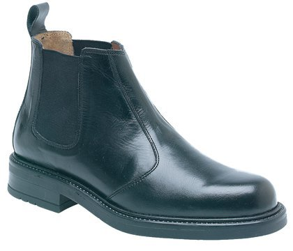 Size 8 Mens Boots Black Leather Slip On Chelsea Boot By Roamers