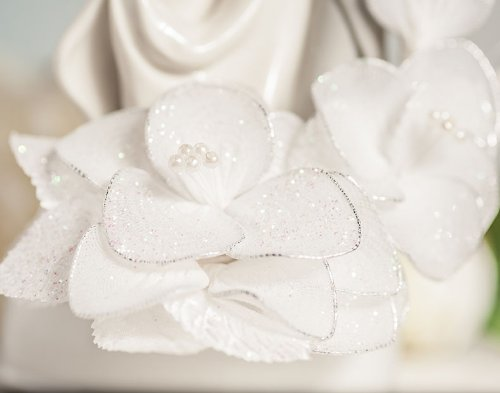 Dancing Bride and Groom Vintage Glitter Flower Wedding Cake Topper: Flower Arch Color: Ivory 1