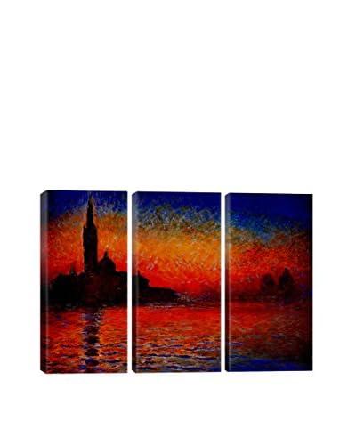 Claude Monet Sunset In Venice 3-Piece Canvas Print