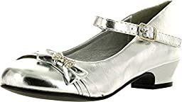 Mary Jane Shoes with Pretty Satin Rolled Rosettes Patent Leather (8, 5226-SV)