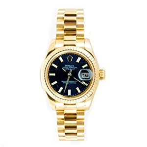 Rolex Ladys President New Style Heavy Band 18k Yellow Gold Model 179178 Fluted Bezel Blue Stick Dial