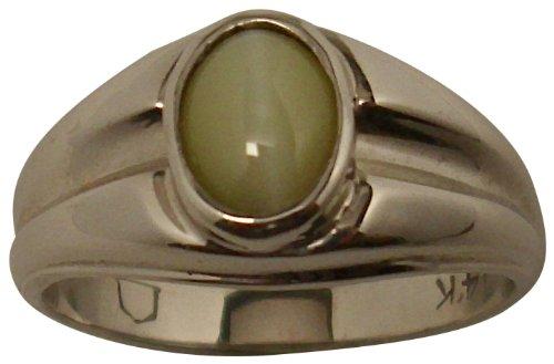 Cates Eye Green-Yellow Natural Chrysoberyl 14K Gold Ring