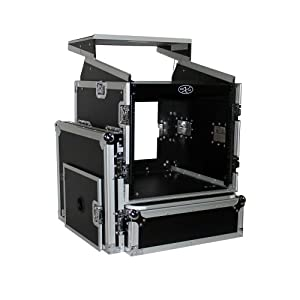 ProX Cases T-10MRLT 10 Space 10U Top Load Slant DJ Mixer Road Gig Ready Flight Combo Rack w/Gliding Laptop Shelf