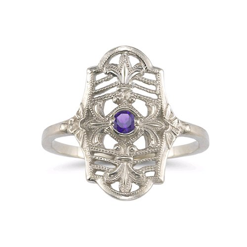 Vintage Fleur-de-Lis Amethyst Ring in .925 Sterling Silver