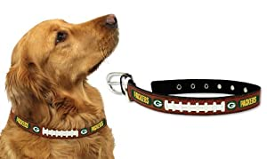 Green Bay Packers Leather Football Lace Dog Collar (Small to Large Sizes Available) by GameWear