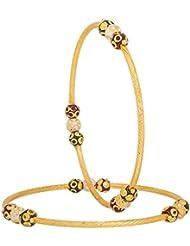 INDIAN FESTIVAL DESIGN MULTI COLOR KUNDAN/BEADS MEENAKARI GOLD PLATED BANGLES ET FOR WOMEN SIZE 2.4 - B01KQH4CXC