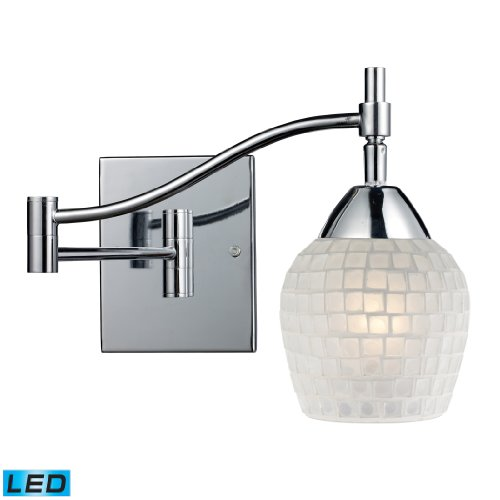 Celina 1-Light Swingarm Sconce In Polished Chrome And White Glass - Led Offering Up To 800 Lumens (60 Watt Equivalent) With Full Range Dimming. Includes An Easily Replaceable Led Bulb (120V).