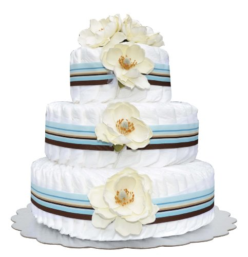 Bella Sprouts Diaper Cake, Three Tier, Blue/Crème/Brown/White