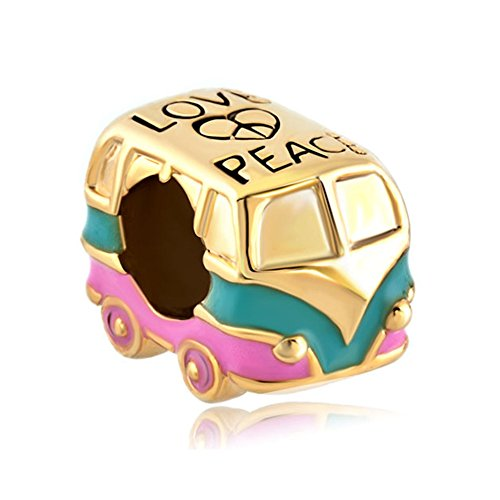 Heart Love Peace Symbol Golden Green Pink Antique Bus Car Charms Sale Cheap Jewelry Beads Fit Pandora Charm Bracelets