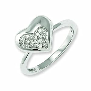 Sterling Silver and CZ Brilliant Embers Fancy Heart Ring