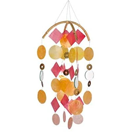 Asli Arts 21 Inch Yellow, Red, and Gold Capiz Wind Chime