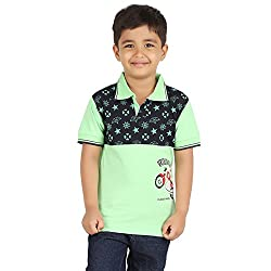 MERIL Boy's Green Color Tshirt