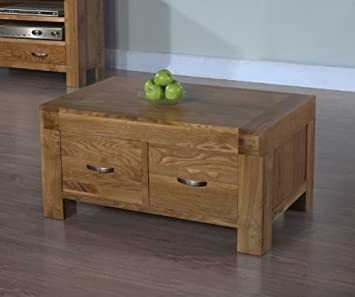 Plaza Rustic Oak Furniture 2 Drawer Coffee Table