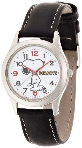 Citizen q q peanuts snoopy character watch analog display black aa95 9854 ladies for Snoopy watches