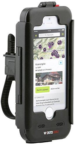 Wicked Chili - Supporto antipioggia da bicicletta per Apple iPhone 5 con presa audio (attacco per auricolari e caricabatteria, protezione antispruzzo IP4X, posizione orizzontale o verticale)