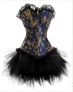 Burlesque - Halloween Victorian Brocade Corset & Tutu Fancy Dress Outfit Costume - 4Xl 18 - 20