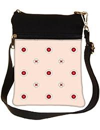 Snoogg Red Spots Flower Cross Body Tote Bag / Shoulder Sling Carry Bag