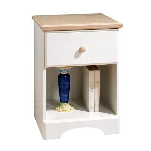 South Shore Summer Time Collection Night Stand - Pure White And Natural Maple