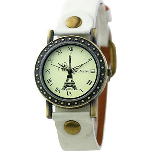 Dayan Eiffel Tower Surface Fashion Woman Watch Quartz Leather Strap Bracelet Watch Wristwatches White