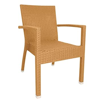 Bolero Wicker ArmChair Seat Furniture Home Restaurant Bistro Cafe Bar Natural (Pack of 4) Colour: Natural. Height: 853mm
