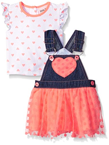Little Lass Baby Girls' 2 Piece Tutu Skirtall Set Hearts, Coral, 6-9 Months