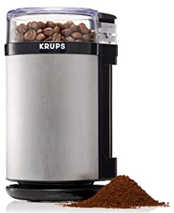 KRUPS GX410 Electric Spice Herbs and Coffee Grinder with Stainless Steel Blades and Housing, Grey