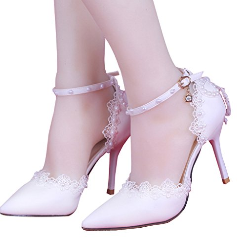 CLOCOLOR Women's Pointed Toe High Heel Lace Pearls Ankle Strap Pumps Wedding Shoes Size 6 White