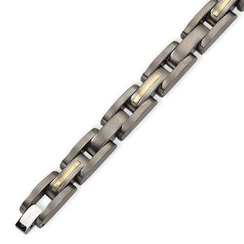 Men's 14K Gold and Titanium Link Bracelet