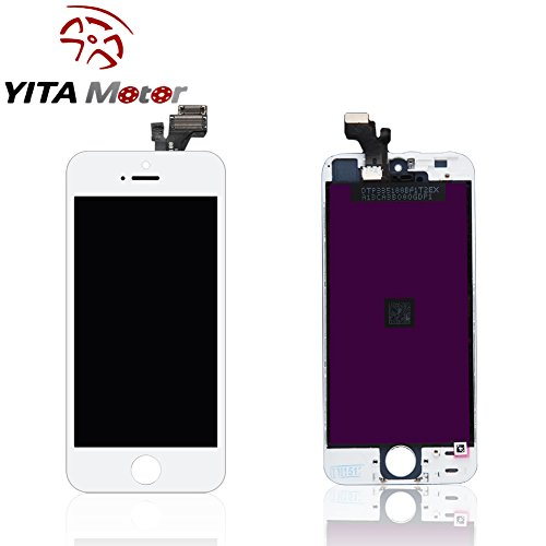 YITAMOTOR LCD Touch Screen Digitizer Frame Assembly Full Set Screen Replacement for iPhone 5 White