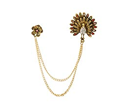 Swarovski Golden Peacock With Hanging Tassel And Flower Brooch/Shirt Stud/Lapel Pin For Men