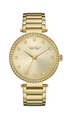 Caravelle New York T Bar Women's Quartz Watch with Gold Dial Analogue Display and Yellow Gold Bracelet 44L209