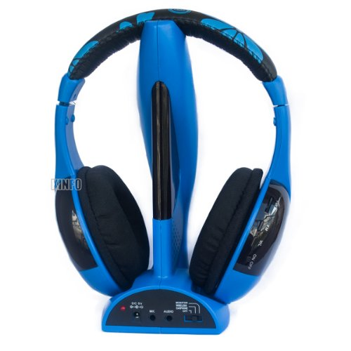 Ckeyin Stereo Wireless Headphone Headset With Microphone Fm For Pc / Laptop / Smart Tv / Iphone / Ipad / Mp3 / Mp4 / Cell Phone / Etc (Blue)