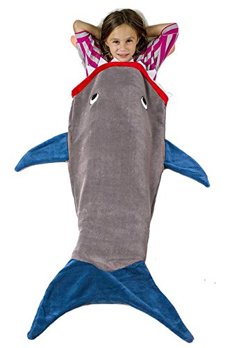 Flannel Shark Blanket For Kids(gray+blue,56inchs),JoyStreet Super Soft and Comfy Baby Shark Tail Sleeping Bag Great Christmas Gifts for Kids Boys Toddler (Shark Boy And compare prices)