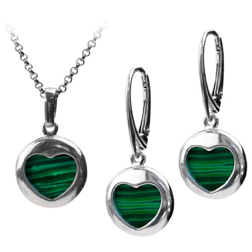 Sterling Silver Imitation Malachite Heart Round Earrings Pendant Set Rolo Chain 18 Inches
