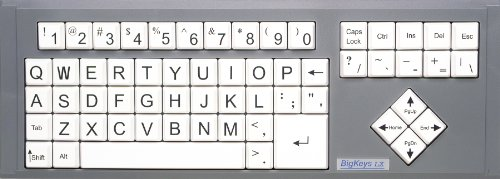 Bigkeys Lx Large Print Computer Keyboard Usb Wired (White Keys With Keyboard Jumbo Oversized Print Letters) For Visually Impaired Individuals, Low Vision, Or Low Light For Seniors And People With Bad Vision! Imposing Vivid Black Over-Sized Letters On Whit