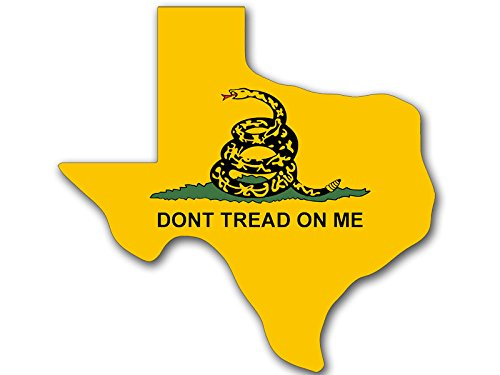 Texas Shaped Don'T Tread On Me Flag Sticker (Gadsden Tx Tea Party)