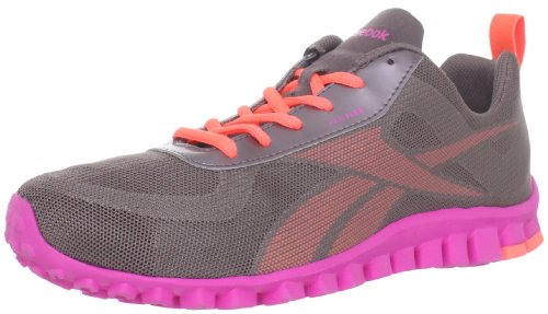 Reebok Women'S Realflex Scream Running Shoe,Almost Grey/Vitamin C/Pink,9 M Us