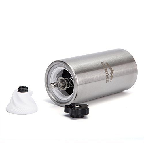 Kemuse Manual Coffee Grinder - Hand Coffee Maker, Conical Burr Mill made with Brushed Stainless Steel - Perfect For Aeropress, French Press, Espresso or as a Spice Grinder