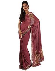 Designer Rust Party Wear Saree Hand Sequins Pallu Work Sari