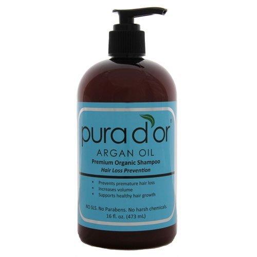 Pura D'Or Hair Loss Prevention Premium Organic Shampoo, Brown And Blue, 2 Count (16 Oz Each)