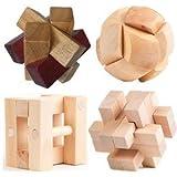 Large Wooden 3D Puzzle 4-Pack Mental Brainteaser #3