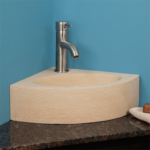 Corner Sinks For Small Bathrooms Sandstone Corner Vessel Sink