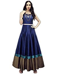 Designer Royal Blue Colour Taffeta Silk Embroidered Party Wear Semi Stitched Gown