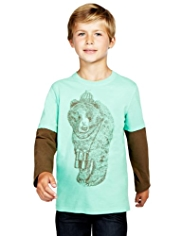 Pure Cotton Mock Layer Sleeve Bear Print T-Shirt