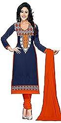 Expert Women's Clothing Designer Party Wear Low Price Sale Offer Navy Blue & Orange Cotton Embroidered Free Size Salwar Kameez Suit Dress Material