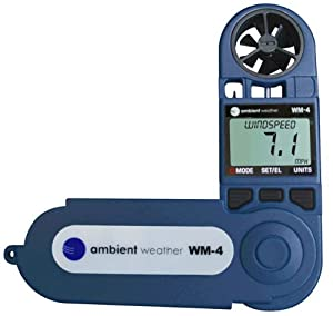 Ambient Weather WM-4 Handheld Weather Station w/ Windspeed, Direction, Temperature, Humidity, Compass, Dew Point, Comfort Index, Psychrometer from Ambient Weather