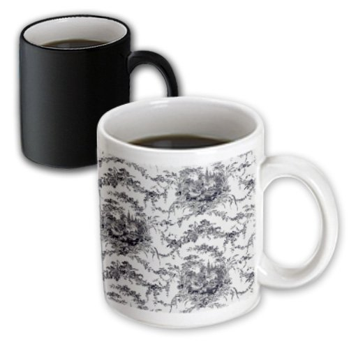 Florene Country Life - Black And White French Country Toille - 11Oz Magic Transforming Mug (Mug_151072_3)