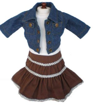 18 Inch Doll Clothes Denim Jacket and Peasant Skirt