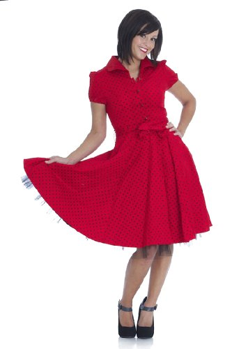 50S Vintage Tea Party Dress - Red W/ Black Polka Dots -Re839 (Xl = 12(Us) 16(Uk))