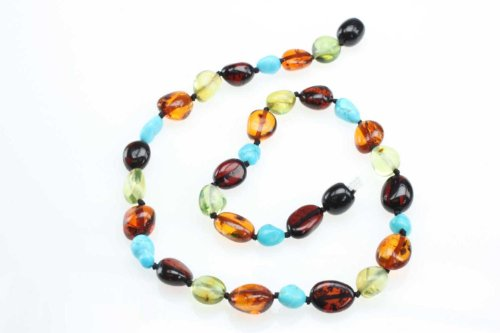 "Amberbeata ""Turquoise Star"" Baltic Amber Teething Necklace for Baby, Cherry and Cognac Baltic Sea Amber, Green Caribbean Amber, Natural Turquoise, Safety Knotted"